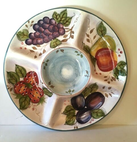 """Heritage Mint BLACK FOREST FRUITS One Piece 15"""" Chip and Dip Tray New Unused"""
