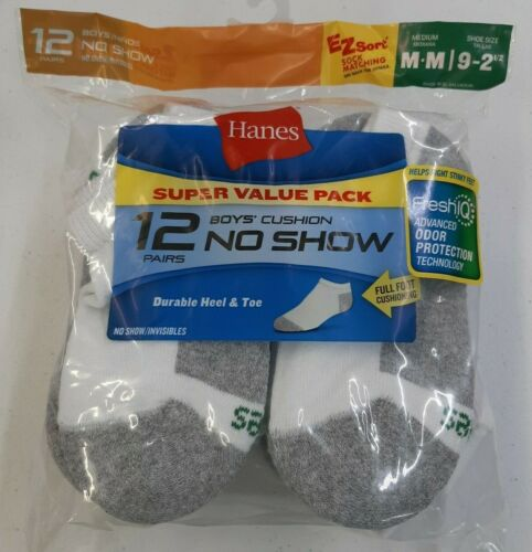 Hanes Boys 12 Pair No Show Cushion Socks Size Medium (9-2.5) FreshIQ White/Grey