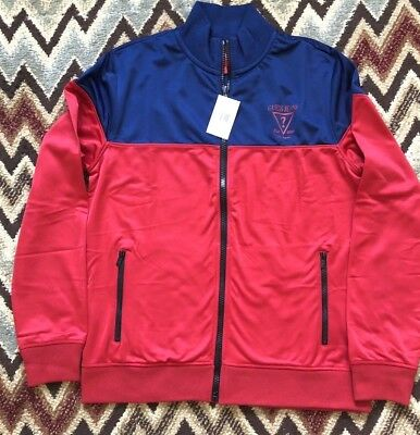 Guess Mens Jacket - Guess Jeans Payce Track Jacket Full Zip Track  Mens Red & Blue Navi Multi NWT