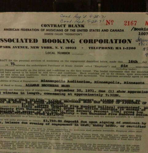 allman brothers  duane allman era contract .(duane only  played 12  more shows )