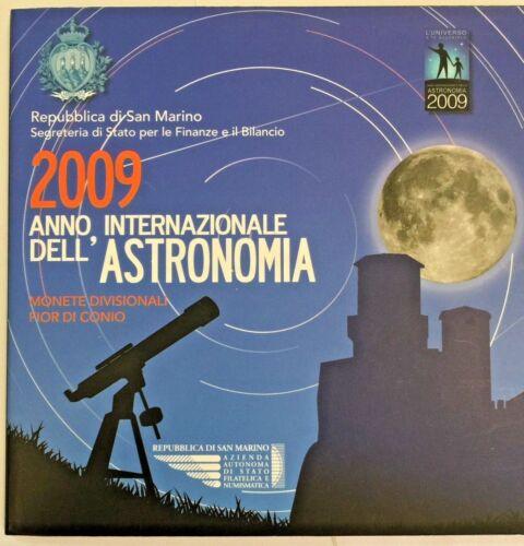 San Marino 2009 Complete Euro Proof Set 9 Coins + Silver 5€ Astronomy COA
