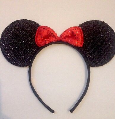 1pc Minnie Mouse Red Bow-Mickey Mouse Ears Headband Shimmer Ears-Disney Costume - Minnie Mouse Red Party Supplies