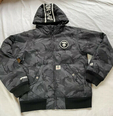 Aape By A Bathing Ape Black Camo Hoodie Jacket Coat size L