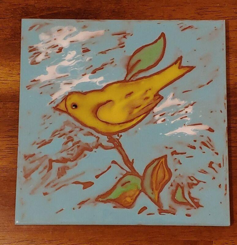 "Yellow Bird on Pale Blue Sky Signed Art Tile Elaine Cain 6"" X 6"""