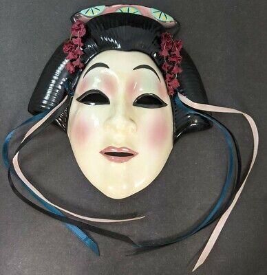 Kabuki Japan Theater Style 80's Vintage Ceramic Wall Mask Clay Art SF USA