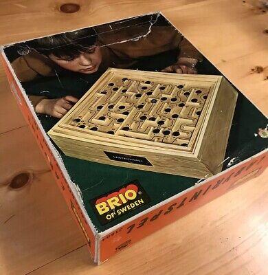 Vintage Brio Sweden Labyrinth Wooden Tilting Maze Game With Box Swedish 31804