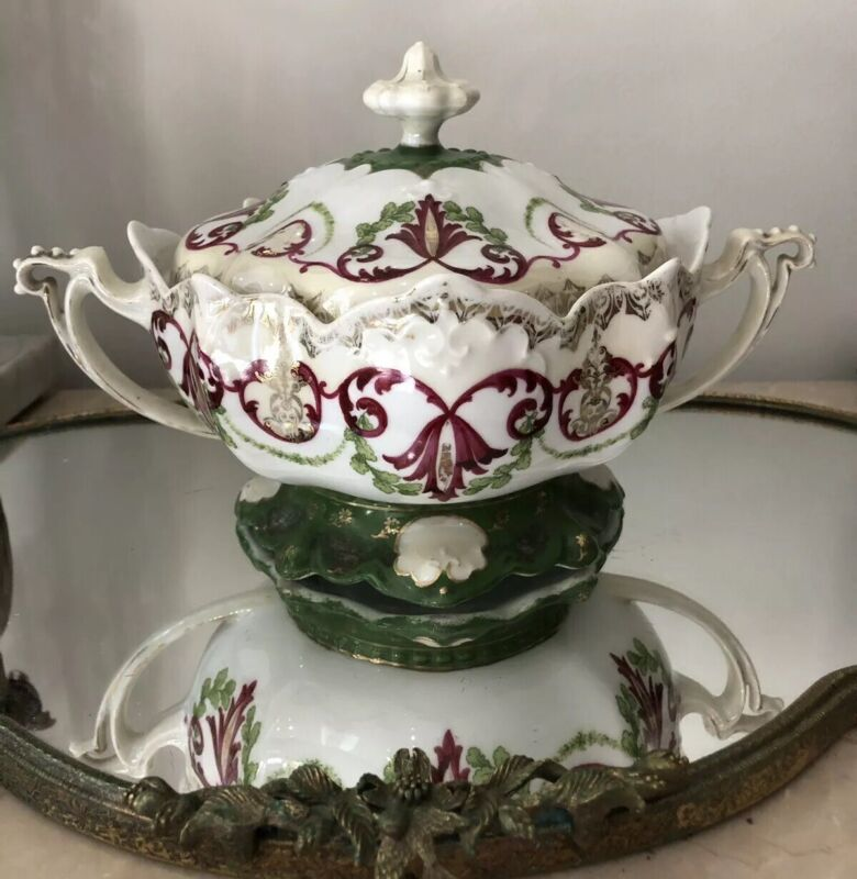 Antique MZ AUSTRIA Handpainted 2 Handle CRACKER JAR SMALL TUREEN COVERED DISH
