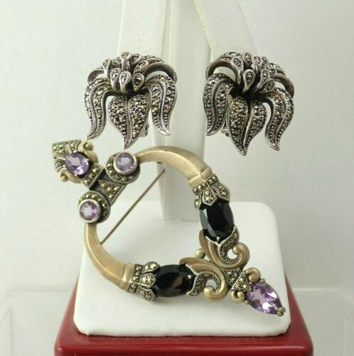 Heirloom 73 Gold over Sterling Amethyst Onyx Pin Brooch Earring Set by Vintage