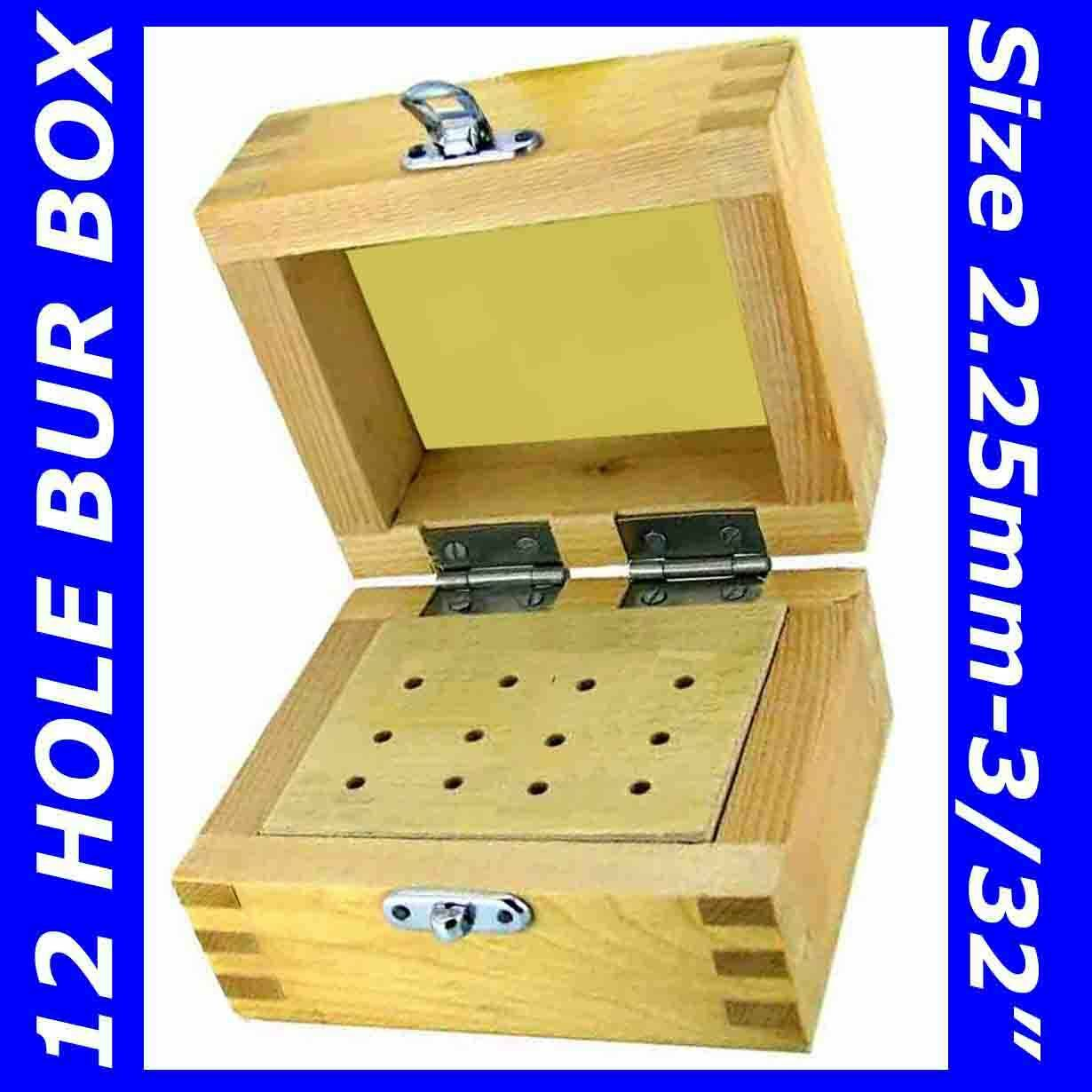 Dental Wooden Bur Stand Wood Box Storage 12 Drills Brush Abrasive Rotary Tool