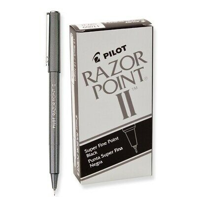 11009 Pilot Razor Point Ii Marker Pen Super Fine Plastic Tip Black Pack Of 12