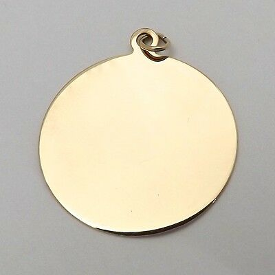 NEW 14K Yellow Gold Round Engravable Disc Charm Pendant  1.5gr