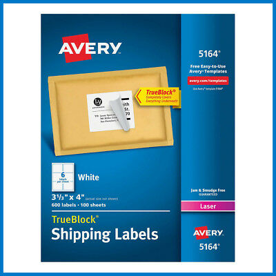 No Tax Avery Laser Mailing Labels 3-13 X 4 5164 600-count