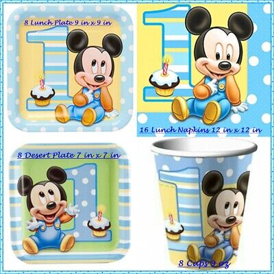 Mickey Mouse Baby 1st Birthday Tableware  for 8 Guests-Plates, Cups, Napkins-NEW](First Birthday Plates)