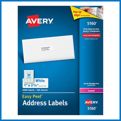 No Tax Avery Easy Peel Laser Mailing Labels 1 X 2-58 3000-ct 5160