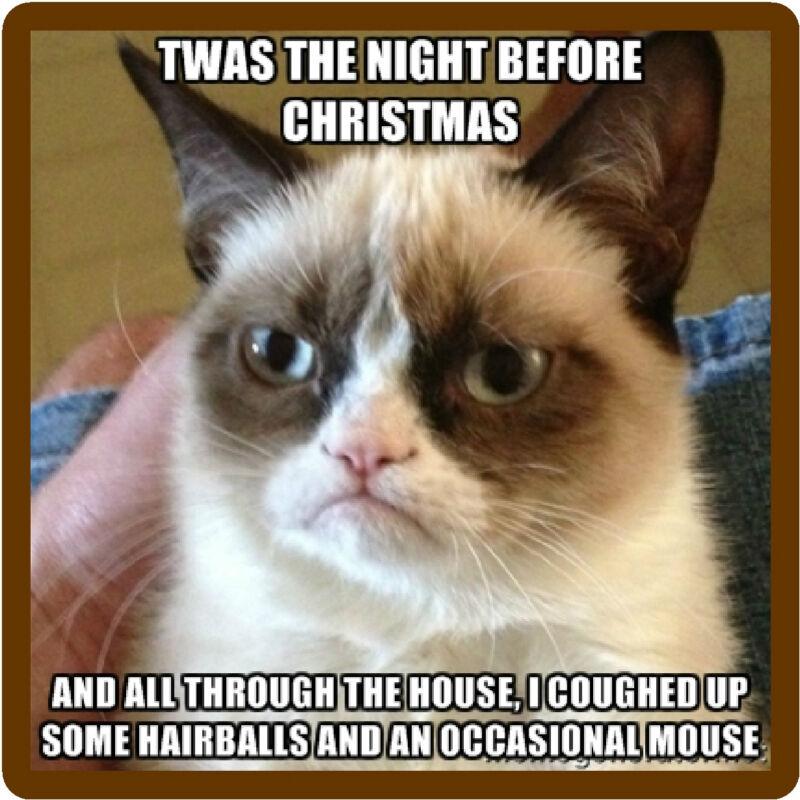 Funny Grumpy Cat Night Before Christmas  Refrigerator / Locker Magnet