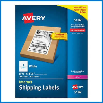 No Tax Avery Labels With Trueblock Technology 5-12 X 8-12 5126 200-count