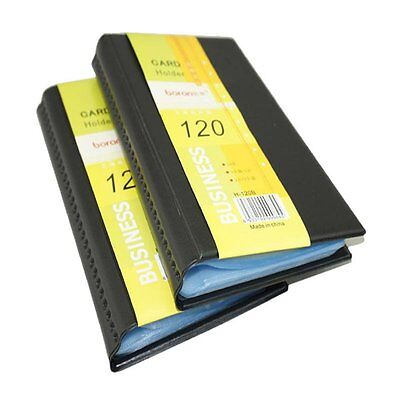 Leather 120 Cards Business Name Id Credit Card Holder Case Keeper Organizer