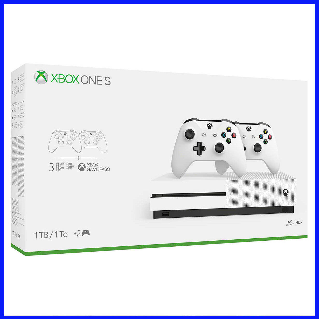 [No Tax]  Xbox One S 1TB CONSOLE Bundle, 2 Controllers, 3 Month Game Pass