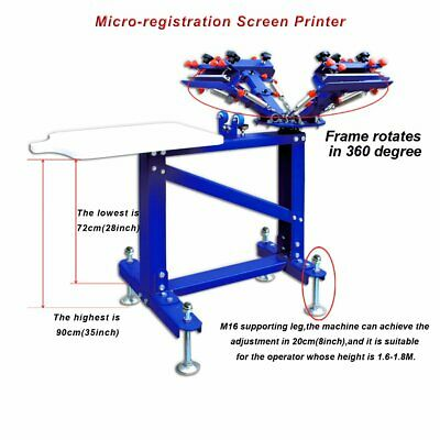 4color 1station Screen Printing Machine Adjust Shirt Press Printer With Stand
