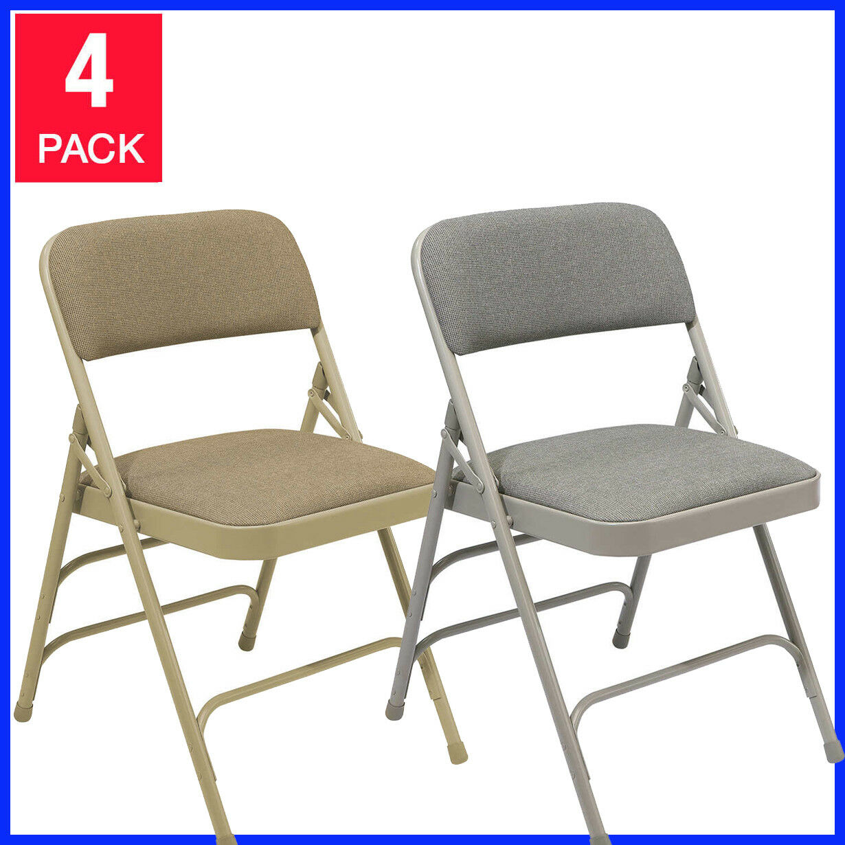 4 Pack, National Public Seating Upholstered Folding Chair,