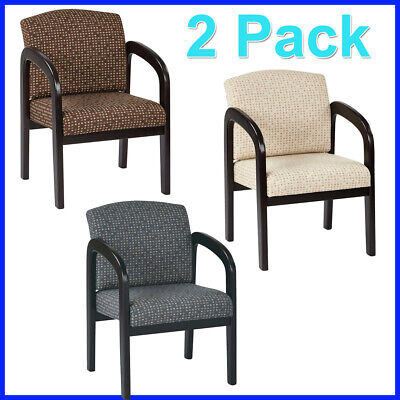 Reception Chairs, Espresso Finish, Thick padded seat, 2 Pack Deep Espresso Finish
