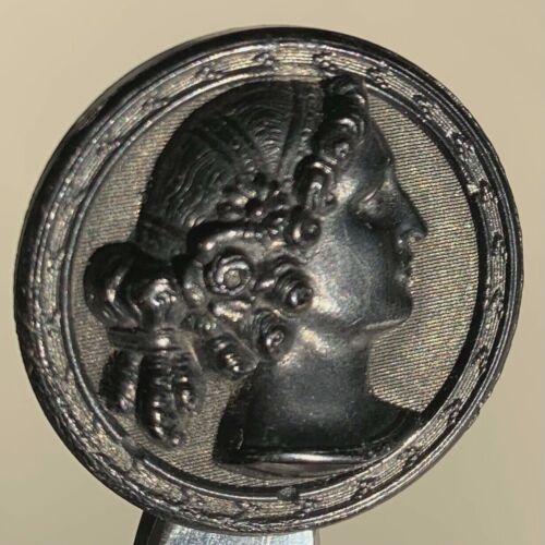 Antique Molded Horn Lady Portrait Button
