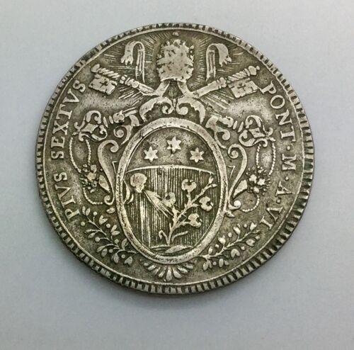 1780  Scudo Vatican Italian States Pius VI  Nice Original Crown Sized Coin