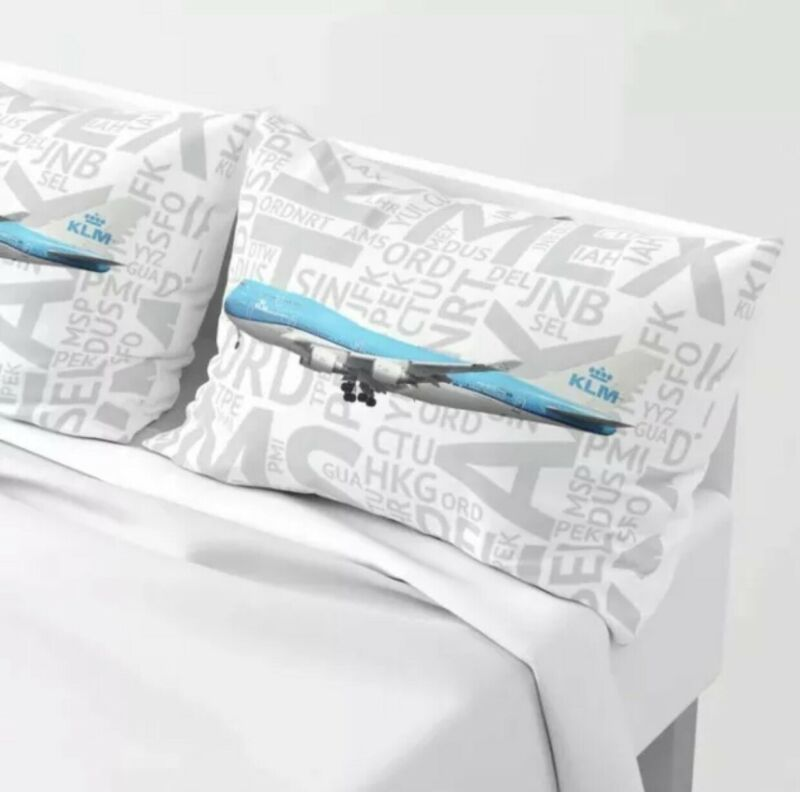 KLM 747-400 with Airport Codes - Standard Set of Pillow Shams