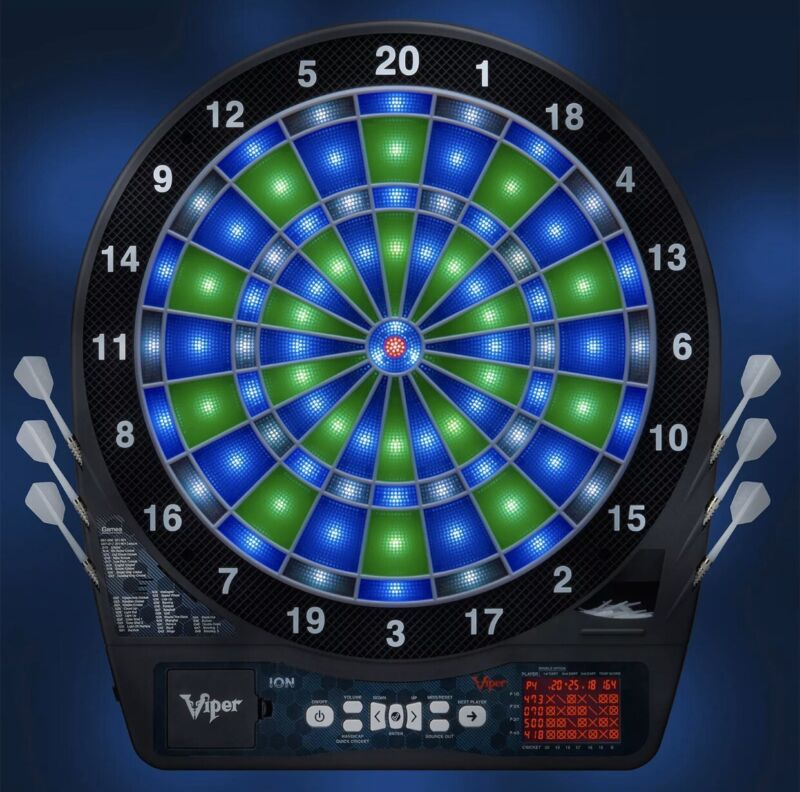 Viper ION Illuminated Dartboard Light-Up Segments Auto Scoring 8 Player NO DARTS