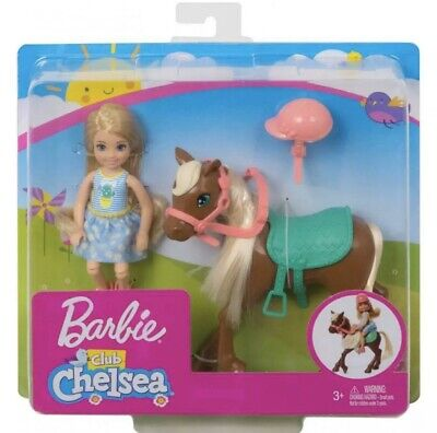 """NEW Barbie Club Chelsea 6"""" Blonde Doll and Brown Pony (Horse) Playset"""