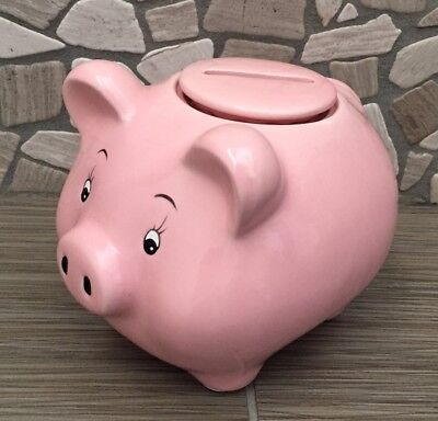 Pink Ceramic Childs Pig Piggy Bank With Re moveable Top Lid