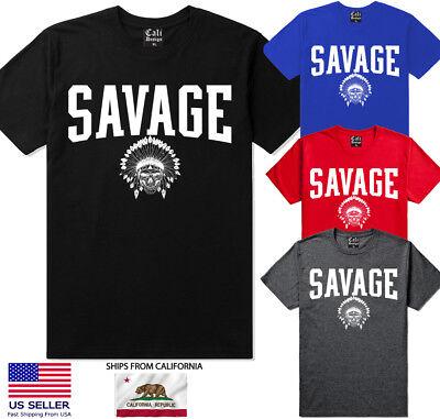 Urban T-shirt Designs - Savage T shirt Design Hip Hop Streetwear urban clothing Indian chief skull Tee