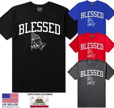 Urban T-shirt Designs - Blessed T shirt Hip Hop Streetwear urban clothing Praying Hands Design Drake Tee