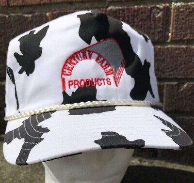 0cb686603 Vintage Century Farm Products Cow Print Snapback Hat Cap OSFA NWOT