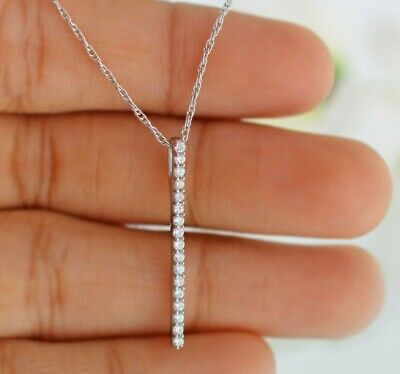 0.75 Ct Diamond Stone Journey Drop Pendant Necklace 14k White Gold GP