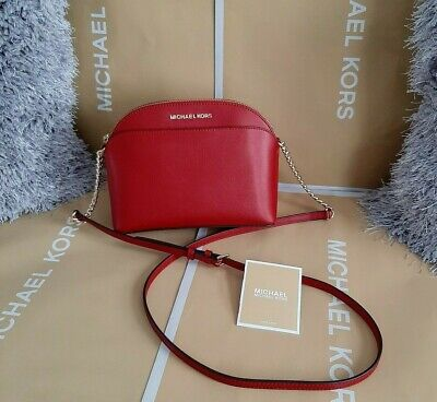 Genuine Michael Kors Jet Set Travel Dome Crossbody - Red Leather Bag - BNWT