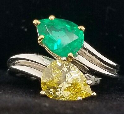 Vintage Harry Winston Colombian Emerald Diamond Platinum Ring 2.69ct.