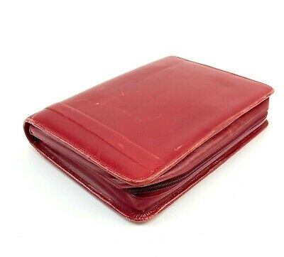 Franklin Covey Red Italian Calfskin Leather Zip 15-19 Blooms Planner Binder