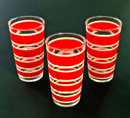Hazel-Atlas, Vintage Red and White Striped, 10 oz. Glass Tumblers, 3 each