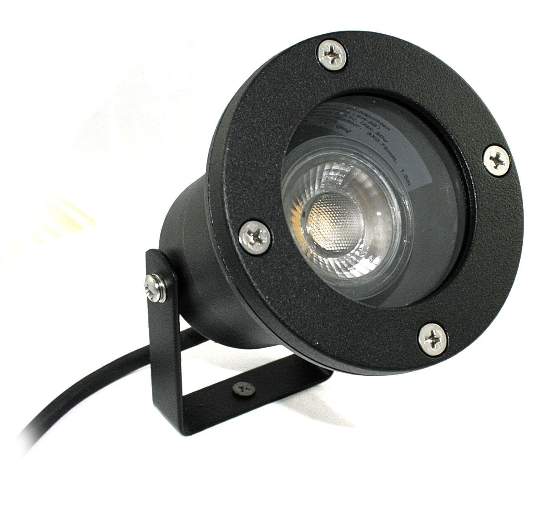 Bodenspot Außenstrahler Piso & 7W=70W GU10 LED 230V IP68 mit Erdspieß PISO K5071