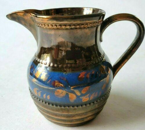 "Antique Copper Luster Lusterware Blue Band 3.75""Milk Pitcher Creamer Hand Paint"