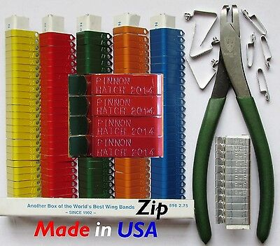 Zip Wing Bands 200 Pcs. Custom Stamped Bird Wing Tags Chi...