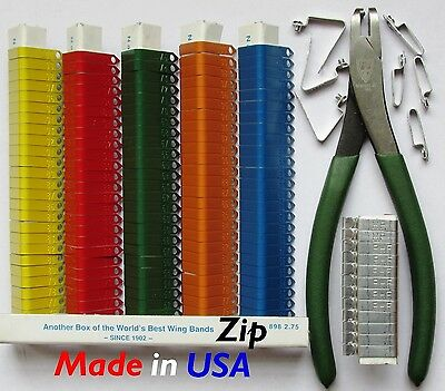 Zip Wing Bands 100pk NOT STAMPED Aluminum Bands Chicken Pheasant Poultry Bird