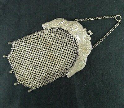 1920s Style Purses, Flapper Bags, Handbags Vintage Mesh Flapper Bag Purse German Silver Art Nouveau Frame Repair Needed  $36.43 AT vintagedancer.com