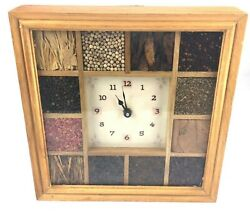 Square Wall Clock Home Decor Glass Face Dried Spices Inlay Italian Rustic Chefs