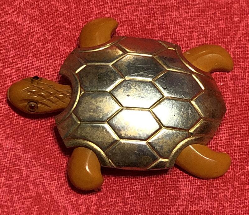 Vintage Carved Bakelite Turtle Brooch Pin Rare