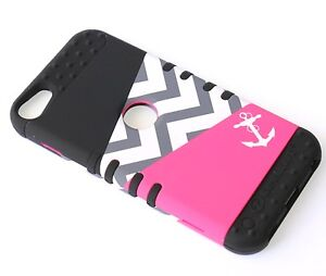 iPod Touch 5th & 6th Gen HARD & SOFT RUBBER HIGH CASE PINK BLACK ANCHOR CHEVRON