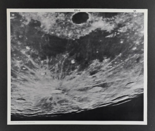 1960 Lunar Moon Map Photo Mare Frigoris West D1-c McDonald Observatory Plate M28