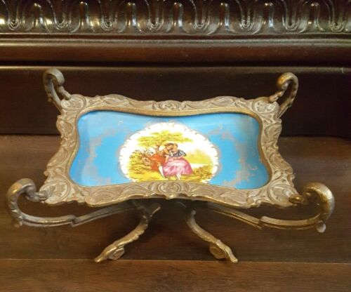 Antique French Sevres Style Bronze Trim Footed Tray Dish Hand Painted Lovers