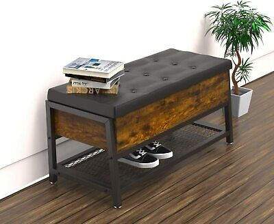 VANERGY Shoe Bench Ottomans with Storage Space Bed End Stool Padded Seat Shelf